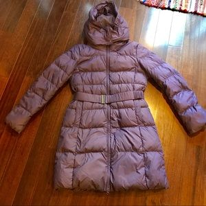 Uniqlo belted down parka with hood, medium